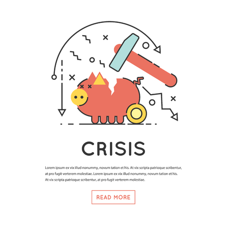 economic depression: Broken Piggy Bank by hummer a thin line. Economic crisis, Capital leakage, Money losses, depression. Flat design vector illustration.