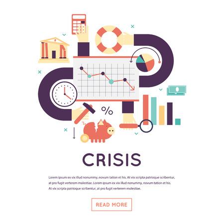 crisis economica: crisis económica, la caída de un mercado de valores, crisis de negocios, la reducción de los precios. Diseño plano ilustración vectorial aislado. Vectores