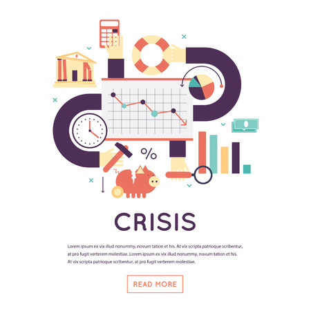 economic crisis: Economic crisis, falling of a stock market, crisis business, prices reduction. Flat design isolated vector illustration. Illustration