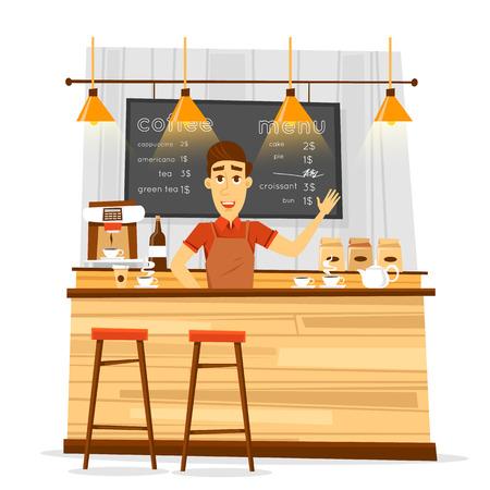 Young bari sta man and coffee bar. Flat vector illustration. Vektoros illusztráció