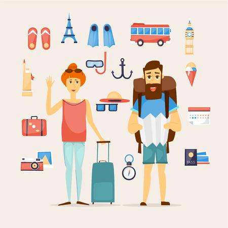 mochila de viaje: El hombre y la mujer juntos en un viaje. Viajes mundiales. La planificación de las vacaciones de verano. Vacaciones de verano. El turismo y el tema de vacaciones. Diseño de personaje. ilustración vectorial diseño plano. Vectores