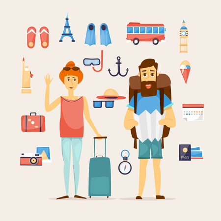 airport luggage: Man and woman together on a trip. World Travel. Planning summer vacations. Summer holiday. Tourism and vacation theme. Character design. Flat design vector illustration. Illustration