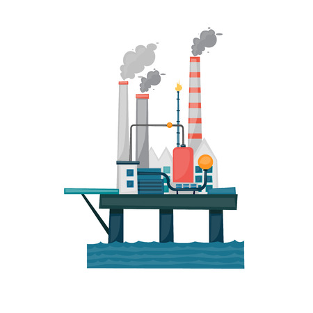 oil and gas industry: Oil and gas offshore industry with stationary platform. Flat style vector illustration concept. Illustration