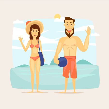couple in summer: People on vacation, couple on the beach. Beach characters. Summer holiday, travel, journey, vacation in paradise. Vector illustration.
