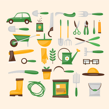 design tools: Garden set icons. Garden tools. Flat design vector illustration. Illustration