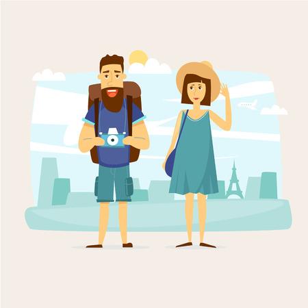 valigia: Coppia di turisti insieme per un viaggio. Design del personaggio. Viaggio nel mondo. Pianificazione vacanze estive. Vacanze estive. Turismo e il tema di vacanza. Piatto illustrazione disegno vettoriale. Vettoriali