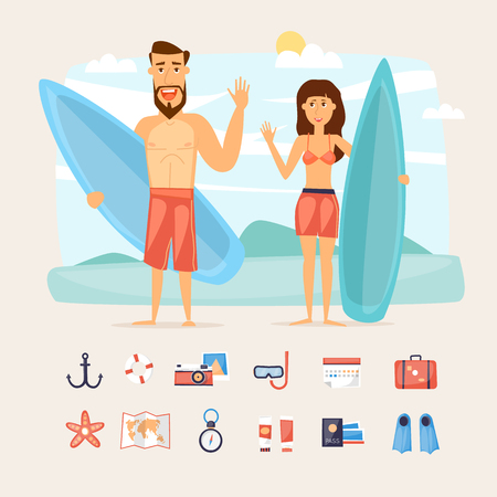 girl happy: Surfing summer vacation, couple holding their surfboards, full length, isolated and set of icons. Character design vector illustration. Illustration