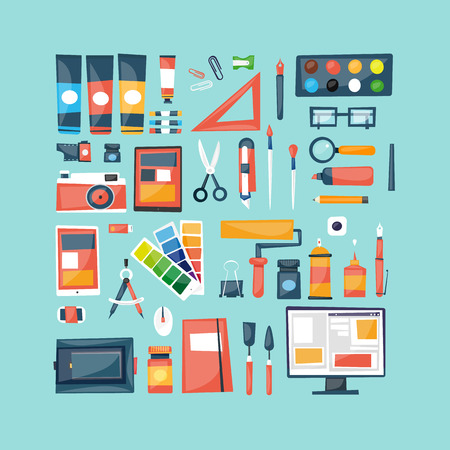 designer at work: Designer workspace with tools and devices in modern flat style. Desktop. Vector illustration concept of creative work. Set of flat icons for web and mobile applications. Banners. Top view.