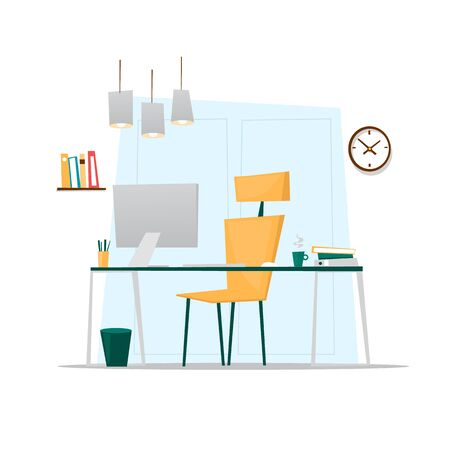 cartoon window: Office interior. Flat design vector illustration.