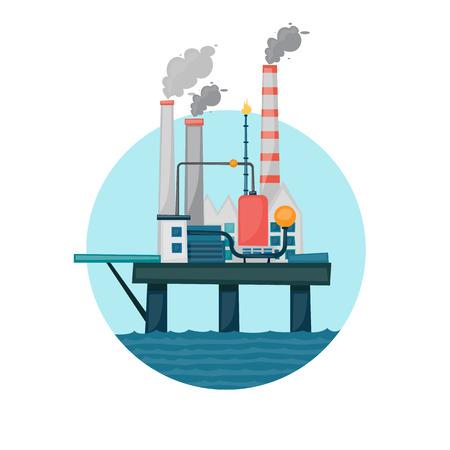 Oil extraction sea platform in the circle. Flat design vector illustration. Иллюстрация