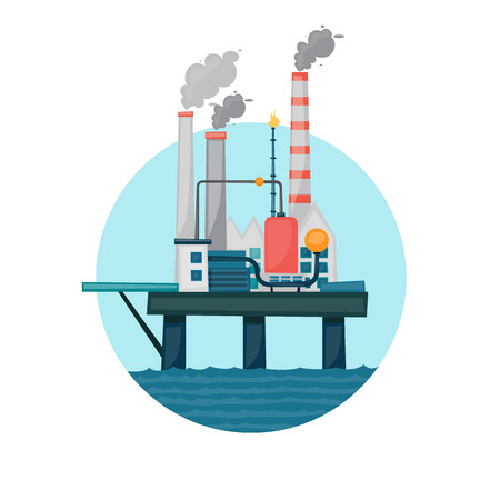 extraction: Oil extraction sea platform in the circle. Flat design vector illustration. Illustration