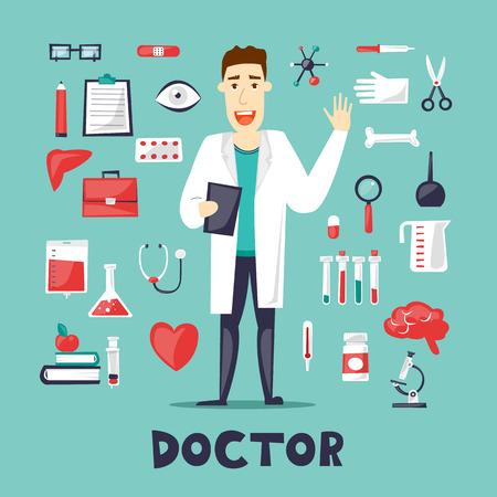 Arts in een volle hoogte en een set gereedschap, medicijnen. Personage ontwerp. Vlakke ontwerp vectorillustratie.