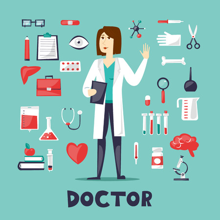 gynecologist: Woman doctor in a full height and a set of tools, medicine. Character design. Flat design vector illustration. Illustration