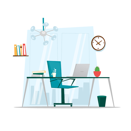 work on the computer: Office interior. Flat design vector illustration.