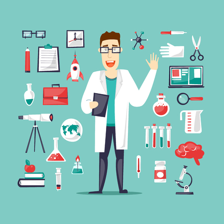 science lab: Scientist and a set of icons Lab. Science and Education. Character design. Flat design vector illustration.
