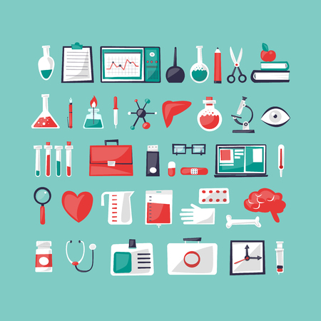 school nurse: Medicine set of tools. Flat design vector illustration.