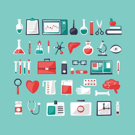 doctor and nurse: Medicine set of tools. Flat design vector illustration.