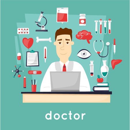nurse uniform: Doctor sitting at the table in the office and a set of tools. character design. Vector illustration flat design.