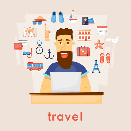 internet search: Travel the world. Search tour to the Internet. character design. Vector illustration flat design.