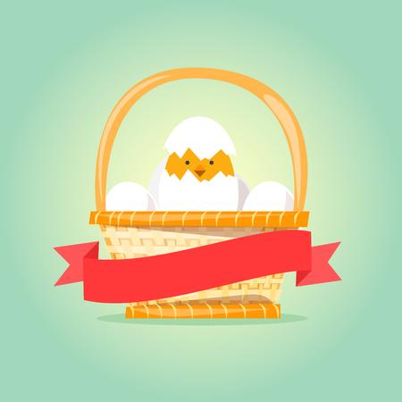 cartoon easter basket: Easter basket with eggs and chicken. Vector illustration flat design.