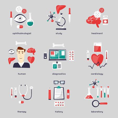 健康管理と医療、医学と化学の一連のアイコン。  イラスト・ベクター素材