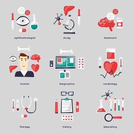 Health care and medical, medicine and chemical set of icons. Illustration