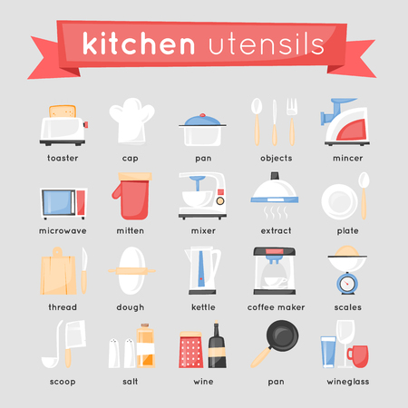 kitchen equipment: Kitchen appliances, cooking equipment set of icons. Flat design.Kitchen appliances, cooking equipment set of icons.