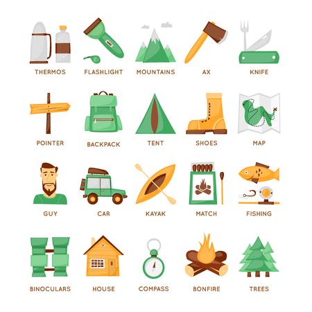 brandweer cartoon: Wandelen, kamperen, outdoor plezier set van iconen. Plat ontwerp.