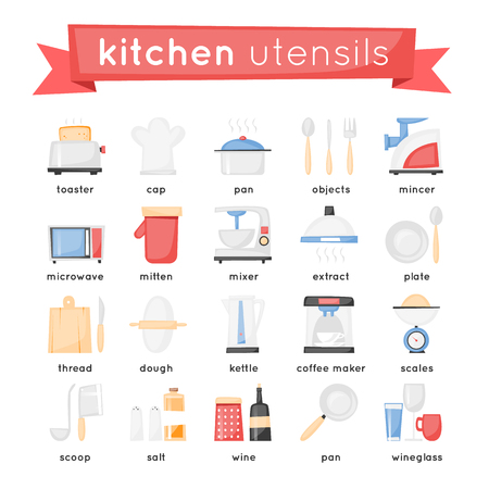 Kitchen appliances, cooking equipment set of icons. Flat design.