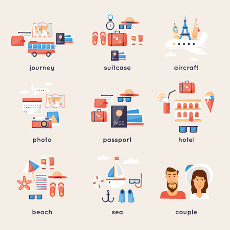 airplane travel: World Travel, summer vacation, tourism and journey, traveling on airplane set of icons. Flat design. Illustration