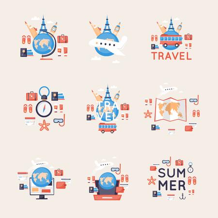 世界旅行、夏休み、観光、旅、飛行機アイコンのセットの旅行します。フラット デザインのベクトル。