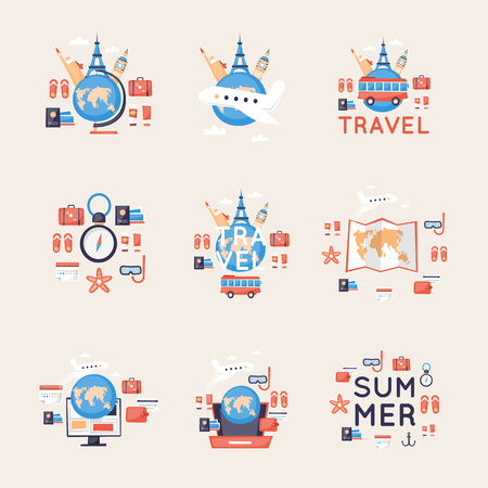 World Travel, vacanze estive, turismo e viaggio, viaggiando su set di icone di aeroplano. Vettore di disegno piatto.