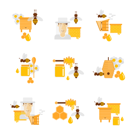 aquaculture: Honey and beekeeping. Apiary, beehives and frames, honey jars, flowers, flying bees, honeycomb and wax. Flat design vector illustration. Illustration