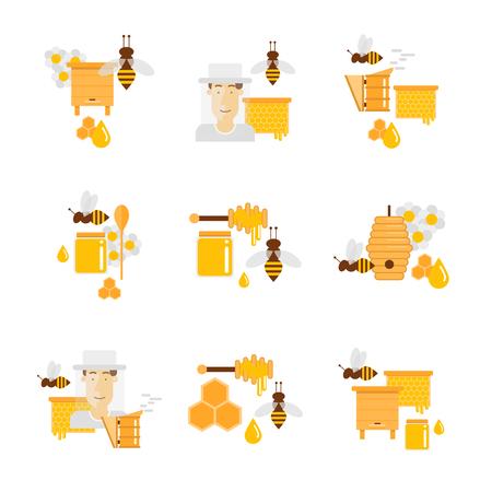Honey And Beekeeping. Apiary, Beehives And Frames, Honey Jars ...