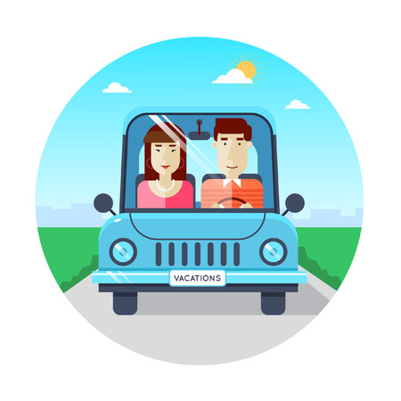 couple in summer: Couple traveling by car. World Travel, summer vacation, tourism and journey, traveling. Vector illustration flat design.