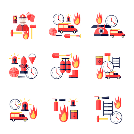 fire hydrant: Firefighter, firefighting tools. Fire truck. Flat style vector illustration. Illustration