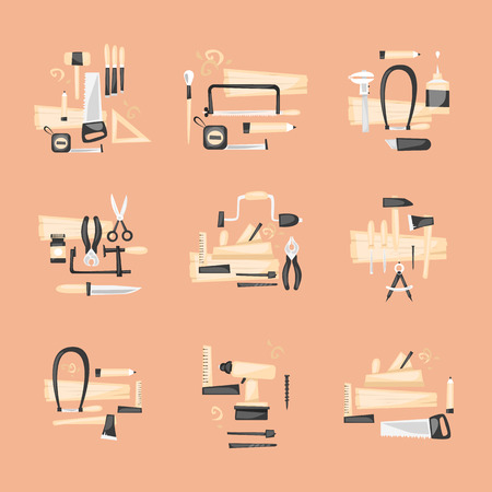 joinery: Carpentry, woodworker, joinery, workplace. Construction hand tools. Carpenter set of tools. Flat design vector illustration.