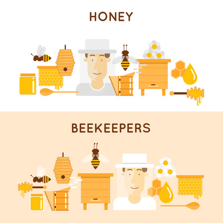 aquaculture: Honey and beekeeping. Apiary, beehives and frames, honey jars, flowers, flying bees, honeycomb and wax. 2 banners. Flat design vector illustration.