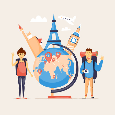 couple in summer: World Travel, summer vacation, tourism and journey, couple travels, traveling on airplane set of icons. Flat design vector. Illustration