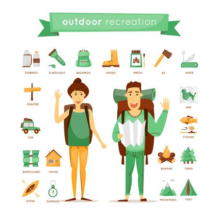 Wandelen, kamperen, outdoor plezier set van iconen. Echtpaar in openlucht, bergen, bos, kajakken, wandelen, natuur. Platte ontwerp vector.