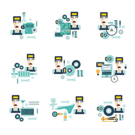 tire change: Car service. Auto mechanic repair of machines and equipment. Diagnosis of engine. Oil change, suspension repairs, tire service, painting. Car diagnostics. Vector illustration and flat icons.