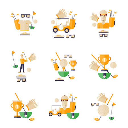 caddy: Golf, golf car, golf club, golf ball. Golf icons. Flat style vector illustration.