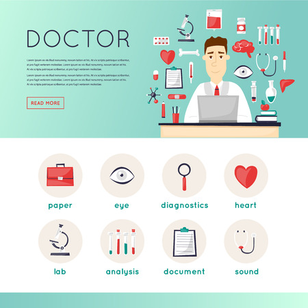 website template: Doctor and medical icons set, cure, health, medicines, tablets character design. Website template header. Flat vector web banners. Illustration