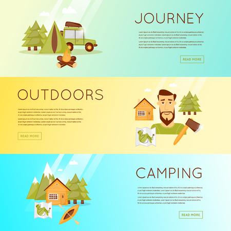 Actividades al aire libre. aventura de verano. El kayak de mar, escalada, montaña, equipos de senderismo. ilustración vectorial y los iconos planos.