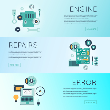 car engine: Car service. Auto mechanic repair of machines and equipment. Car diagnostics. Engine repair, painting, tire, suspension repairs. Banners. Vector illustration and flat icons.