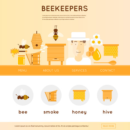 honeycomb: Beekeeper man in hat and tools for beekeeping. Wooden beehives, flowers, smoker, honeycomb, honey jar with dipper. Website template header. Banner. Vector illustration and flat icons.