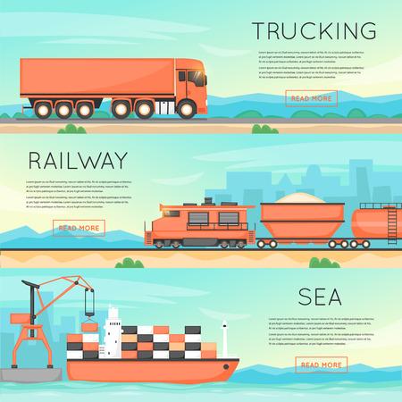 수송: 도로, 기차, 선박에 의한화물 운송. 물류 개념,화물 운송,화물 운송. 평면 벡터 웹 배너입니다. 일러스트