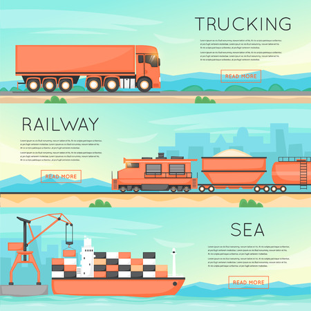 freight transportation: Cargo transportation by road, train, and ship. Logistic concept, cargo transportation, freight. Flat vector web banners.