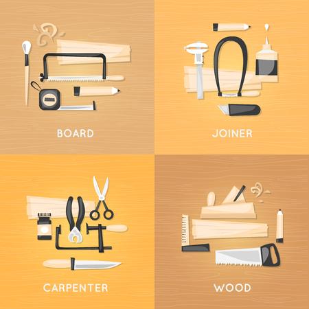 carpintero: Composición con productos herramientas de carpintería carpintero en una vista superior de la mesa de madera. rehabilitación de viviendas, reparación, restauración. ilustración vectorial diseño plano. Vectores