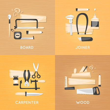 joinery: Composition with tools carpenter joinery products on a wooden table top view. Home renovation, repair, restoration. Flat design vector illustration.